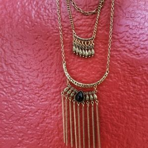 Triple layer long necklace